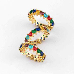 Avebien jóias 2020 Irregular cor incrustada zirconia arco-íris anel de noivado estilo ocidental cz anéis para mulheres1
