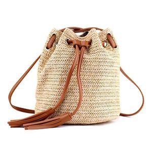 حقيبة الكتف حقيبة السيدات النسيج الصيف أكياس الشاطئ مع شرابات النسيج crossbody حقيبة المرأة النسيج المال البنك محبوك شاطئ حقيبة
