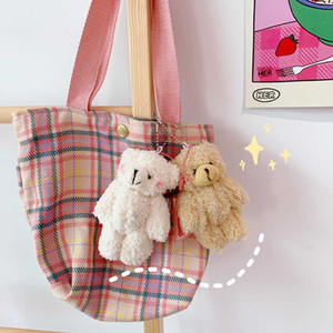 Fashion Cartoon Plush Bear Keychain Cute Animal Doll Chain for Women Girl Car Bag ff Key Ring Jewelry Gift