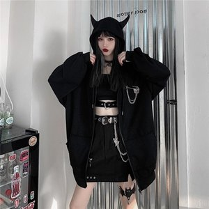 Autumn Winter Women Harajuku Punk Gothic Girls Black Devil Horn Hoodies Sweatshirt Hooded Japanese Hip Pop Plus Size