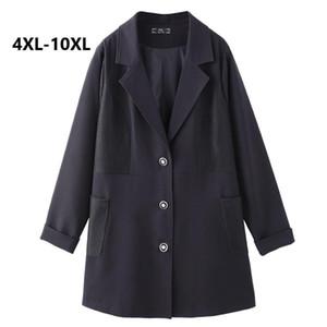 Plus Size 10XL 9XL 8XL 4XL Women Spring Long Sleeves Black Suit Female Korean Loose Long Section Of Thin Wild Little Suit Coats