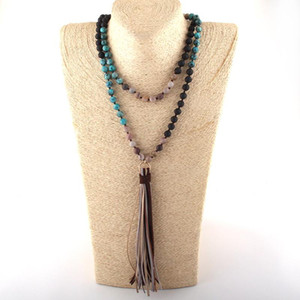 MOODPC Fashion Bohemian Tribal Jewelry 108pc Stone Beads Knotted Multi Gray Color Tassel Necklace Women Ethnic Necklace