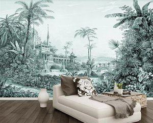 Custom 3d Landscape Wallpaper Simple Retro European Tropical Rainforest Landscape Background Wall Modern Mural 3d Wallpaper