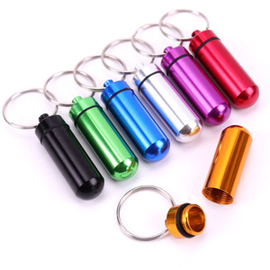Key Holder Aluminum Waterproof Pill Box Bottle Holder Container Keychain Key Chain Pill Box Jar Storage
