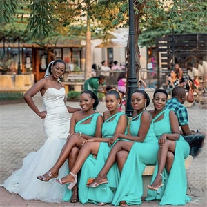 Cheap Bridesmaid Dresses African One Shoulder Side Slit Satin Zipper Back Mermaid Bridesmaid Dresses Wedding Party Dresses Maid Of Honor