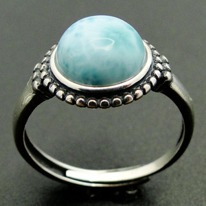 100% 925 Sterling Silver Jewelry Round Natural Blue Larimar Stone Wedding Ring Women Adjustable Ring