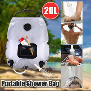 Portable 20L Solar Shower Heating Pipe Bag Water Heater Outdoor Camping Shower Bag Hose with Temperature Display for Travel1