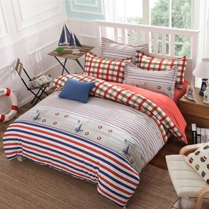 cubrecamas- 4pcs stripe Beddings Cotton bed sheet duvet covers pillowcases super king queen Single or children size bedclothes1