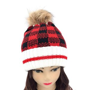 Christmas Kids Mom Hats Family Matching Faux Fur Pom Knitted Beanies Winter Warm Red  Black Plaid Kids Mothers Caps Xmas Decor