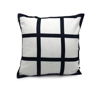 40 * 40cm Blank Sublimation Pillow Case FAI DA TE Nero 9 Pannelli Grid Transfer Transfer Throw Cushion Cover Home Sofa Decor Pillowcases