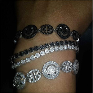 sparking bling jewelry Prong Setting Tiny Cubic Zirconia CZ Zircon Crystal happy face teen girl Adjustable Bracelets for Women