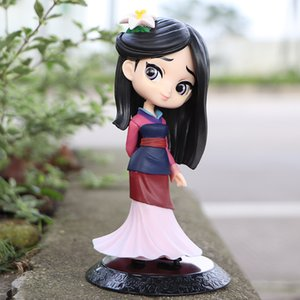 2020 Hot 14cm Q Posket Princess Mulan Figure Model Toys Cake Figure Animation Beauty Model Dolls Gifts for Girls