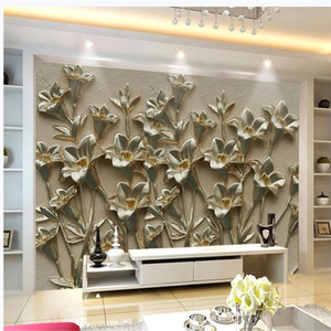 Morden relief flower wallpapers 3d murals wallpaper for living room 3d stereoscopic wallpaper
