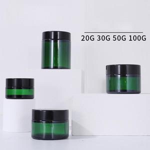 Высочайшее качество Зеленое синее стекло косметические сливки бутылки с черной крышкой пустой лосьон JAN 20G 30G 50G 100G