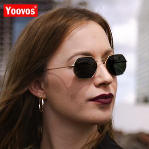 Yoovos hexagon sunglasse frauen 2020 metall vintage marke designer sonnenbrille für männer randlos klare ozean gläser sonnenbrille