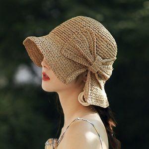 Parent-child 100%Raffia Bow Sun Hat Wide Brim Floppy Summer Hats For Women Beach Panama Straw Dome Bucket Hat Femme Shade
