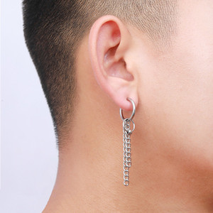Factory price Earring 1Pc Stainless Feather Long Single Steel Chain Tassel Drop Dangle Ear Clip Cuff For Men Women Girls