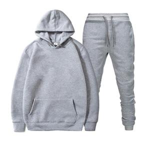 Sparsil Unisex Fashion Hoodies Set Men Hoodies+Pants 2 Pieces Suit Women Tracksuit Solid Color Sweatshirt Sport Suit Streetwear