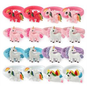 Elastic Hair Tie Rubber Band Glitter Unicorn Nylon Hair Bands Ponytail Holder For Baby Girls Hair Ties