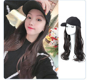 Black or white Baseball Cap with Hair Brown Black Wavy Women Wig Hats k227