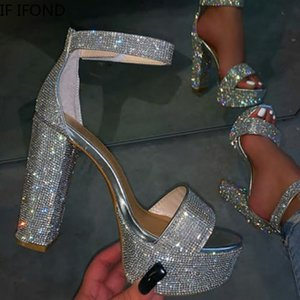 Если женская мода, мода блестящие блеск серебристый горный хрусталь насосы сексуальные лодыжки пряжки густые высокие каблуки вечеринки свадебные сандалии C0202