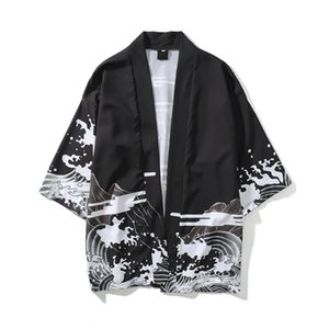 Мужская уличная одежда Дракон напечатанный японский стиль кардиган кимоно куртки осень мода хип-хоп мужской повседневная верхняя одежда