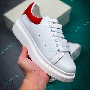 Moda mujer zapato de alta calidad zapatos casuales hombres de cuero de cuero negro blanco rojo cómodo altura plana altura cada vez más seda 35-45