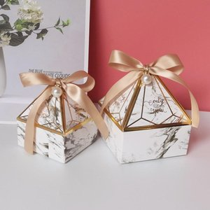 Lbsisi Vida Diamante Forma de doces de casamento Packaging Caixas de aniversário Favor de partido Sweet Sugar Marble Chocolate Cookies Box Com wmteVL Ribbon