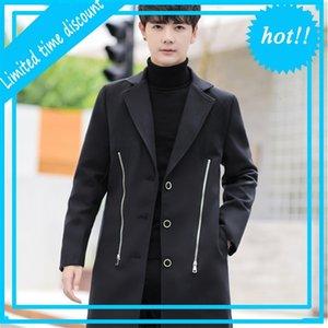 2020 Herfst Winter Wollen Trenchcoat Jassen Coreano Slim Rits Windjack Effen Steetwear Outunner Men Overcoat Tops