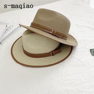 S-Maqiao Летняя шапка для женщин Мужчины Панама соломенная шляпа пружины пляжные шапки Федора УФ защита от солнца Capchapeau Femme1