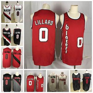 Damian 0 Lillard Jersey Erkek NCAA Retro Koleji Basketbol Formaları Dikişli Yüksek Kaliteli Beyaz Siyah Kırmızı
