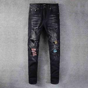 Jeans para hombre Classic Hip Hop Denim Jeans Nuevo AGUJERO NUEVO AGUJERO DISTRIBUIDO BIKER JEAN JEAN SLIM FIT MOTORCYCLE PANTES HJ2