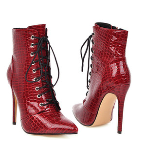 Sexy Ankle Cowboy For Shoes Fashion Snake Red White Boots Women Lace Up High Heel Short Boot Autumn Large Size 46 48 Q1124