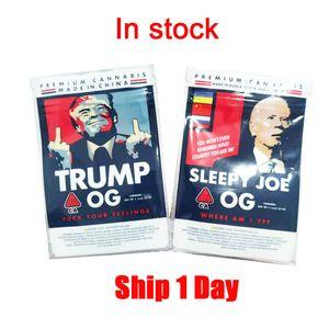 Newest Trump OG Sleepy Joe OG 3.5g mylar bags Sides Sealed Flat Pouch 420 dry herb flower packing bags edibles bag pk cookies bag nerds rope