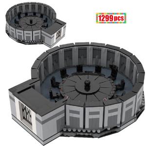 MOC Star Series Wars Station Space Station Death Star Conference Sala de conferencias Modelo Bloques de construcción DIY Creator Ladrillos Educación para niños Q0123