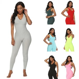 3D Stereo Fashion Hotest Women Sport 7 Colors Gym Halter Sexy Tight Bodysuit Jumpsuit Exercise Fitness Joga Clothes Sportswear Q1119