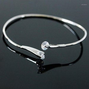 Round Shiny Crystal On Top Double Heads Opening Thin Band Bracelets & Bangles for Women1