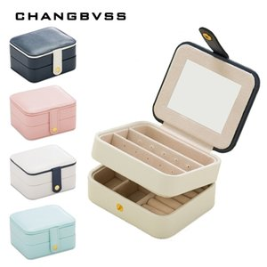 White Blue PU Leather Jewelry Box,Multilayer Ring Earrings Boxes,Jewelry Storage Box,Cosmetic Lipstick Organizer Case Z1123