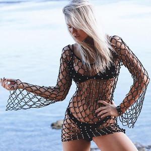 New Women Sexy Bikini Beach Cover-up Mesh Swimsuit Covers Up Summer Beach Wear Swimwear Mesh Beach Dress Ja30ja12 J190618