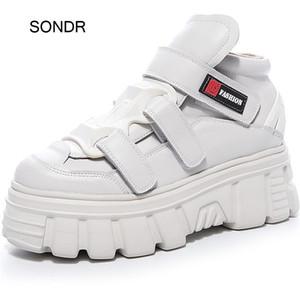 Chaussures blanches augmentées Femmes Platform Sneaker En Cuir Véritable Entraîneurs Entraîneurs Épais Bas Zapatos de Mujer Mesdames Modamy Shunky Shoundware