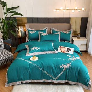 2020 Blue flowers bedding set King Queen Size embroidery Bed Linen 1000TC Cotton Duvet Cover Bed Sheet Set Pillowcases