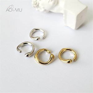 Aomu - male and female non perforated cartilage earrings, ring, round, geometric, miniature, simple jewelry, 2020