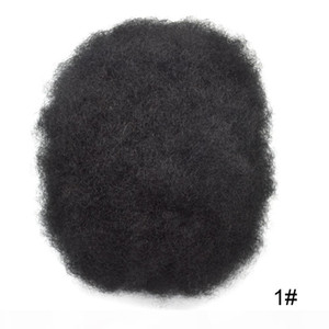 """Thin Skin Afro Mens Toupee French Lace Poly Mens Replacements African American Human Hair Systems 10""""X8"""" Off Black Hairpieces"""