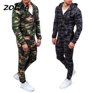 Мужские трексуиты Zogaa 2021 Camouflage Куртки набор Мужские камуфляжные напечатанные Спортивные одежды Мужской трексуит Топ брюки Костюмы толстовки Пальто Брюки Осенняя победа