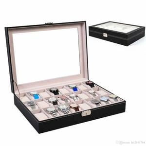 24 Slot Leather Watch Box Jewelry Large Storage Space Organizer w Glass Top