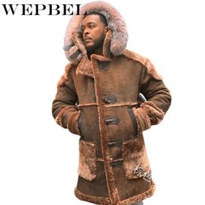 WEPBEL Winter Men's Fashion Warm Shearling Coat Men Faux Suede Long Sleeve Fur Thicken Hooded Jacket Outwear