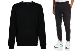 Zwei Teile Sweatshirt und Hosen Herren Anzug Sport Lässig Klassiker Set Neri Plus Cashmere Warme Geometrische Stickerei Asiatische Größe Rundhals-Set