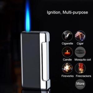 2020 New Cigarette Torch Lighter Press Ignition Metal Jet Lighter Blue Flame Refillable Butane Gas Windproof Cigar Lighters Dropship