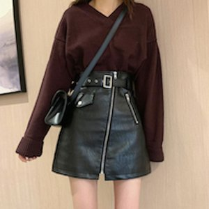 fashion trend large size Black PU leather a-line skirt autumn fall and winter Western style show thin Short skirt with high waist and hips