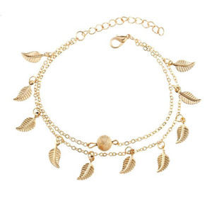 Женщины Gold Leaf Charm Anklets Real Фотографии Золотая цепь Лодыжки из бисера Braclets Fashion 18K Золота Браслеты Ножной Ювелирные Изделия